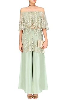Mint Chantilly Lace Off Shoulder Kurta Set by Payal Singhal