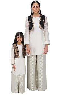 Off White Kurta Set with Black Short Jacket For Kids