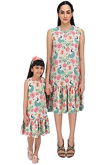 Khaki Printed Frill Dress For Kids by Payal Singhal