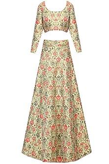 Multicolored ornate floral pattern brocade lehenga set