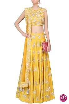 Yellow Nagmeh Floral Embroidered Lehenga Set by Payal Singhal