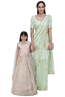 Mother and Daughter Mint Saree and Blush Lehenga Set by Payal Singhal