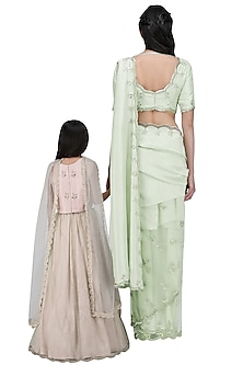 Mother and Daughter Mint Saree and Blush Lehenga Set