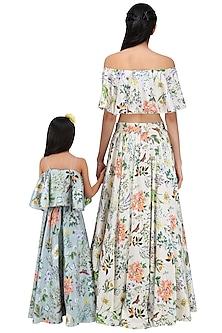 Mother and Daughter Printed Lehenga Set