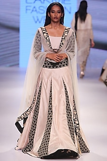 Stone and black embroidered lehenga set with stone dupatta by Payal Singhal