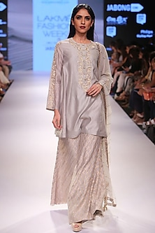 Grey embroidered kurta with Benarasi palazzo pants and mukaish dupatta by Payal Singhal