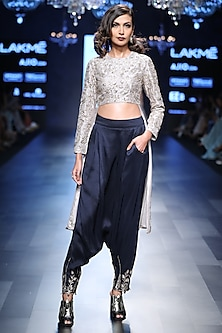 Grey Cropped Embroidered Anarkali and Navy Blue Pants Set