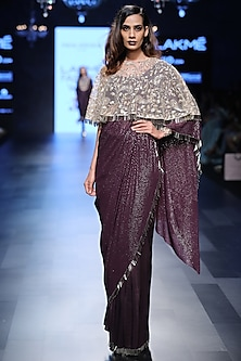 Purple Saree, Bustier and Stone Embroidered Cape Set
