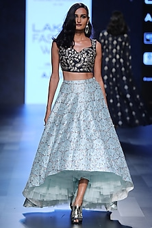 Navy Blue Blouse and Aqua Blue Deco Print Lehenga Set