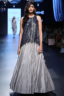 Navy Blue Raised Hem Tunic and Feather Motifs Lehenga Set by Payal Singhal