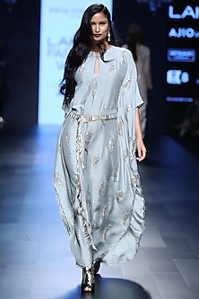 Powder Blue Feather Motifs Kaftan Kurta with Fringed Waist Belt by Payal Singhal