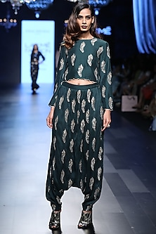 Emerald Green Feather Motifs Crop Top and Scallop Lace Pants Set by Payal Singhal