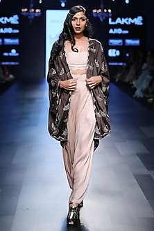 Gunmetal Embroidered Cape, Bustier and Pants Set by Payal Singhal