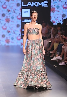 Slate grey bustier with grey flared pleated skirt by Payal Singhal