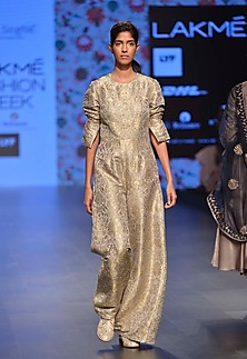 Dove grey and gold brocade work jumpsuit by Payal Singhal