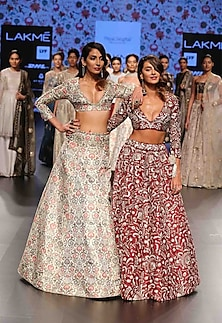 Stone color flared lehenga with meenakari work deep V neck blouse by Payal Singhal