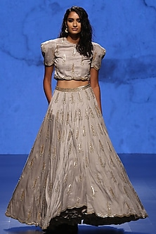 Dove Grey Embroidered Boxy Choli and Lehenga Set by Payal Singhal