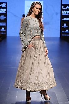 Powder Blue Embroidered Raised Hem Scallop Tunic with Dove Grey Skirt by Payal Singhal