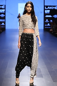Dove Grey Pearl Work Crop Top with Black and Dove Grey Scalloped Pants by Payal Singhal