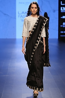 Black Silk Mul Scallop Embroidered Saree and Ivory Brocade Choli by Payal Singhal