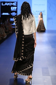 Black Silk Mul Scallop Embroidered Saree and Ivory Brocade Choli
