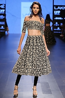 Black Dupion Silk Pearl Embroidered Scallop Hem Off Shoulder Choli and Churidar Skirt by Payal Singhal
