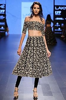 Black Dupion Silk Pearl Embroidered Scallop Hem Off Shoulder Choli and Churidar Skirt by Payal Singhal