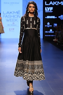 Black Embroidered Multi Border Anarkali, Koti and Churidar Set by Payal Singhal