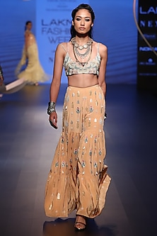 Peach Embroidered Choli with Sharara Pants by Payal Singhal