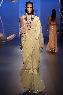 Pale Yellow Embroidered Saree with Peach Top