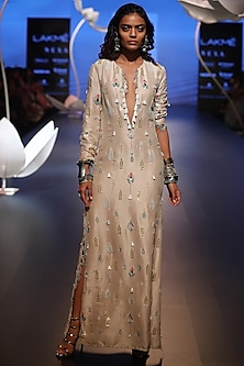 Stone Embroidered Slit Kaftan