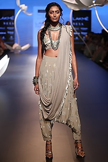 Grey Embroidered Choli with Crotch Pants and Drape