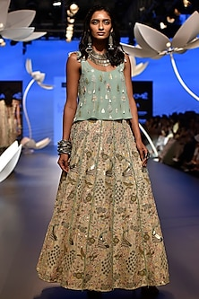 Aqua Embroidered Top with Stone Lehenga Skirt