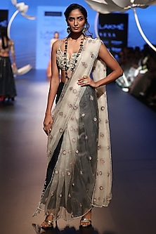 Stone embroidered choli with saree and navy palazzo pants