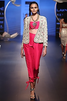 Stone Embroidered Jacket with Hot Pink Bustier and Pants