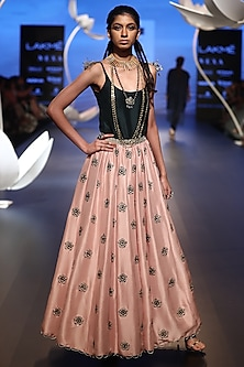 Emerald Embroidered Top with Blush Pink Lehenga Skirt