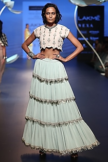Stone Embroidered Top with Ice Blue Lehenga Skirt