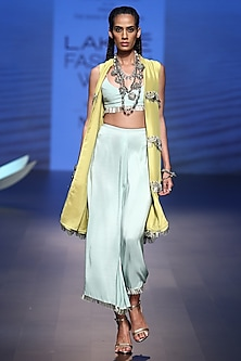 Lime Green Embroidered Jacket with Ice Blue Bustier and Palazzo Pants