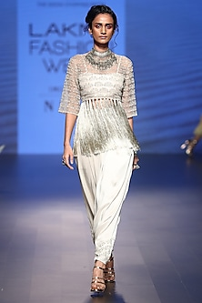 Grey embroidered crop top with bustier and low crotch pants by Payal Singhal