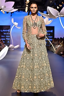 Powder Blue Embroidered Top with Lehenga and Jacket