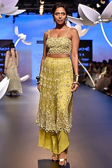 Lime Green Embroidered Choli with Palazzo and Skirt by Payal Singhal