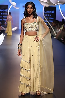 Pale Yellow Embroidered Top with Pants and Dupatta by Payal Singhal
