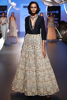 Navy Embroidered Top and Lehenga Skirt