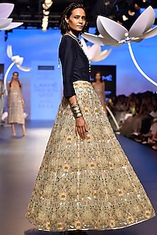 Navy Embroidered Top and Lehenga Skirt by Payal Singhal