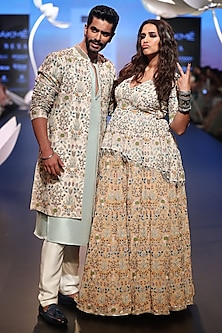 Ice Blue Embroidered Kurta with Pants and Jacket by Payal Singhal Men