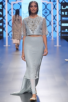 Powder Blue Embroidered Choli with Churidar Skirt by Payal Singhal