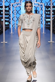Grey Embroidered Crop Top with Drape Pants by Payal Singhal