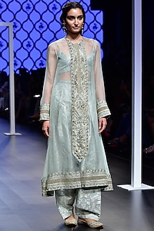 Mint Embroidered Kurta with Bustier and Salwar Set by Payal Singhal