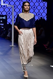 Navy Blue Embroidered Crop Top with Blush Low Crotch Pants   by Payal Singhal