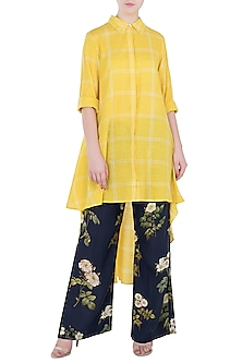 Yellow Embroidered Asymmetrical Tunic by Payal Pratap